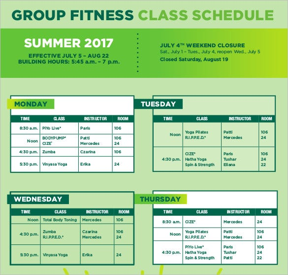 group-fitness-class-schedule