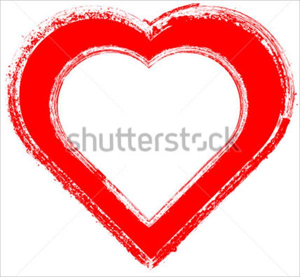 grunge heart frame brush