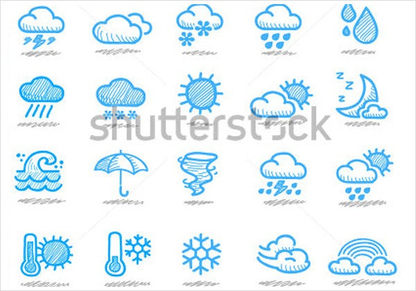 hand drawn weather icons set1
