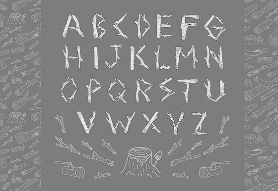 hand drawn wooden alphabet letters
