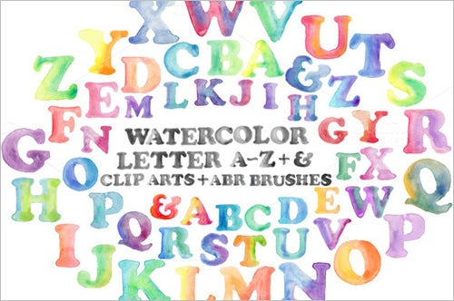 hand painted watercolor nursery alphabet letters