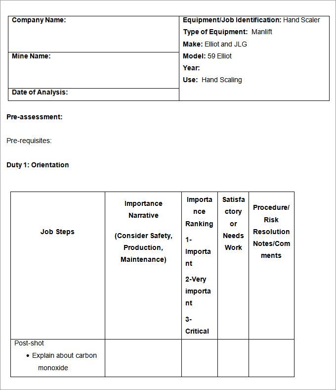 job analysis template