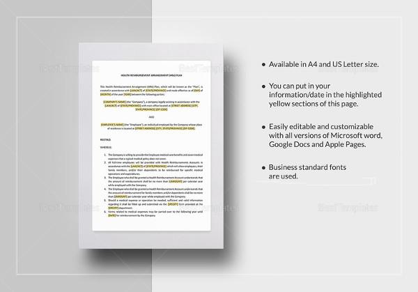 health reimbursement arrangement plan template