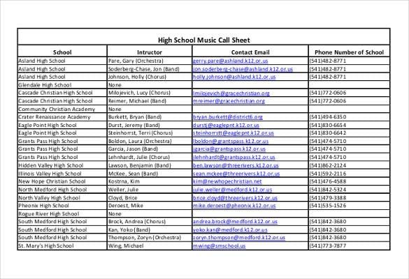 high school music call sheet