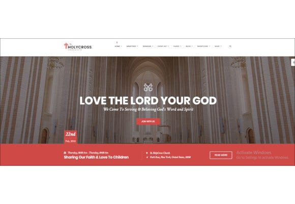 holycross church wordpress theme