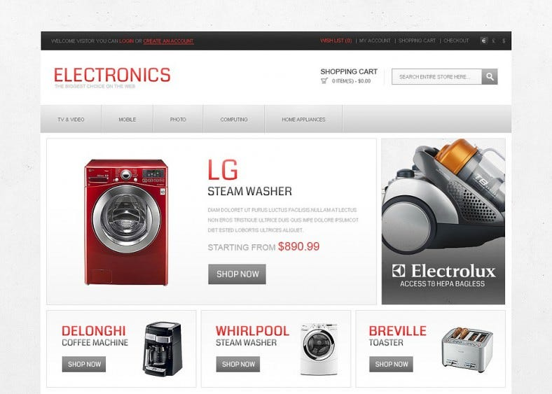 home electronics opencart template 788x563