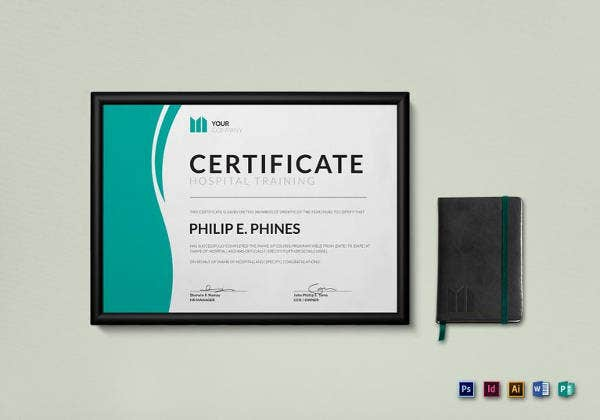 hospital training certificate template