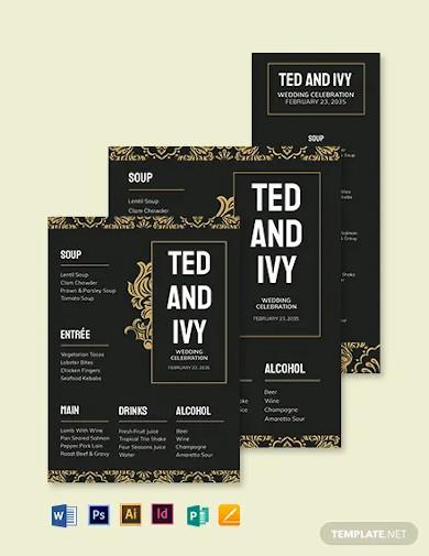 hotel wedding menu template1