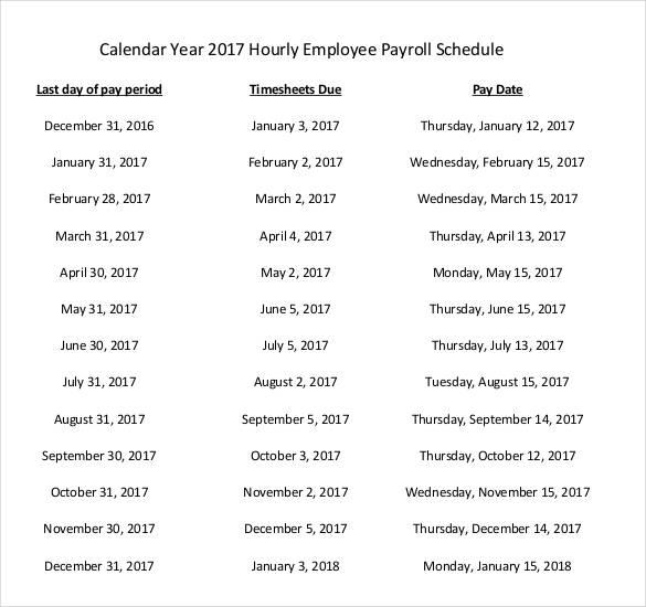 hourly employee payroll schedule worksheet