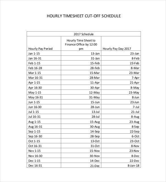 Hourly Schedule Template Free Word Excel PDF Format Free - Time off schedule template