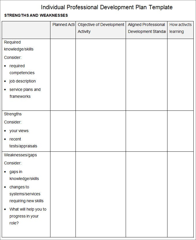 Professional Development Plan Template   Free Word Documents Download RLABrykV