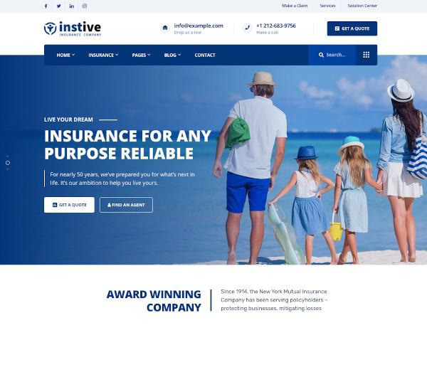 instive insurance wordpress theme1