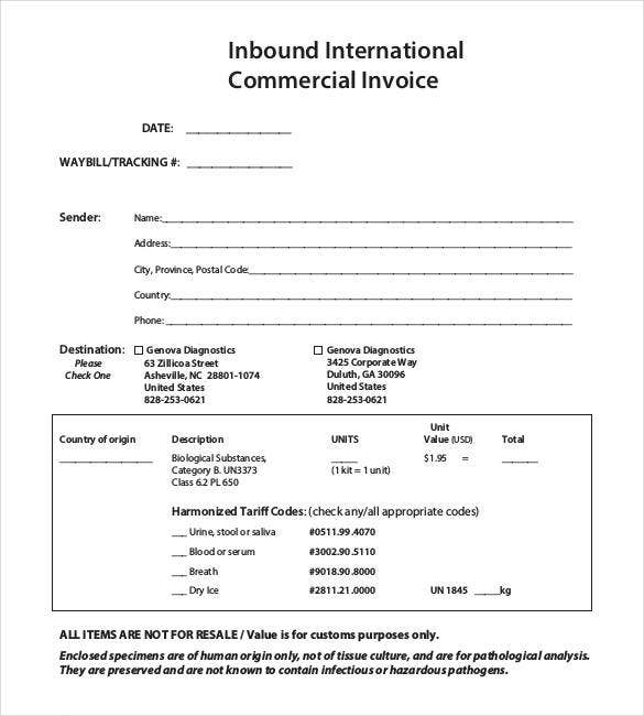 international commercial invoice template pdf