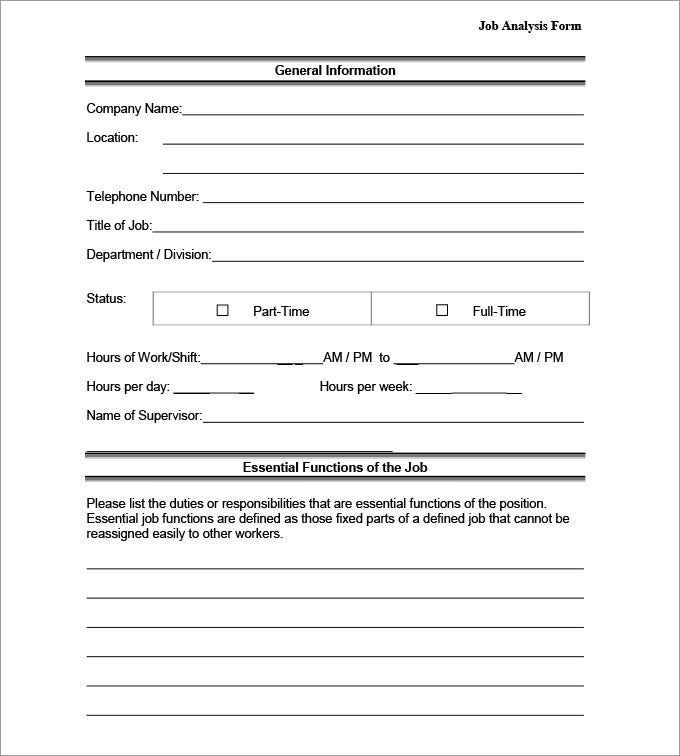 job analysis form
