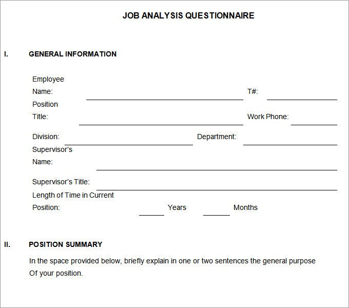 job analysis questionnaire manager
