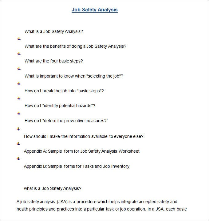 Job Safety Analysis Format. Free Download  Job Safety Analysis Template Free
