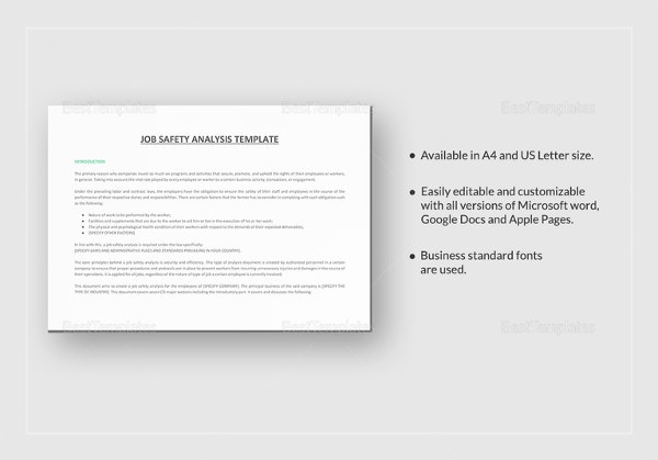 Job Safety Analysis Template In Word  Job Analysis Template Word