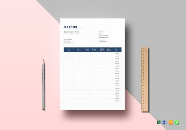 job sheet excel template