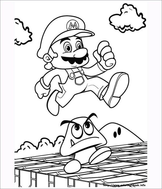 This Is A Sketch Of Mario Jumping Over Mushroom Have Fun With Template By Adding Effects To The Background And Better Personalize