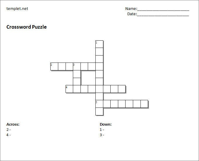 Blank Crossword Template Crossword Template Free