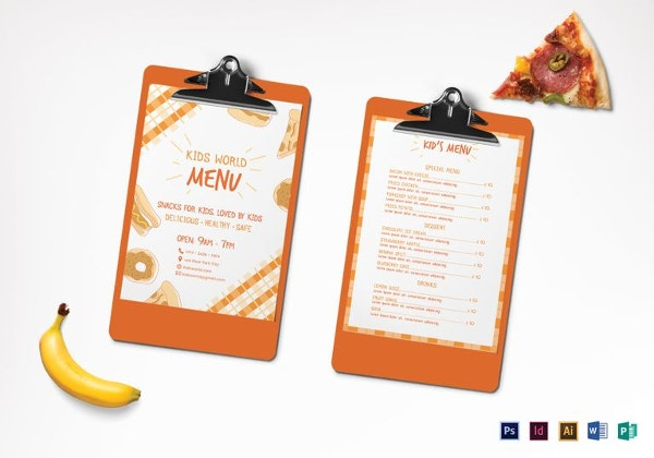 kids menu template1