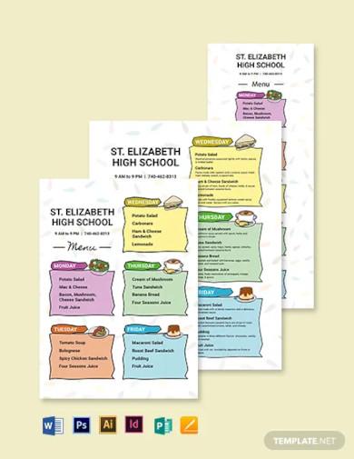 kids school menu template