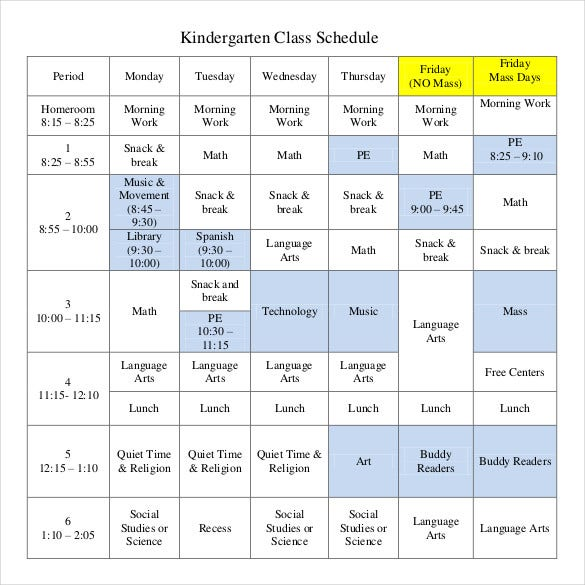 Class schedule template 36 free word excel documents for Kindergarten timetable template
