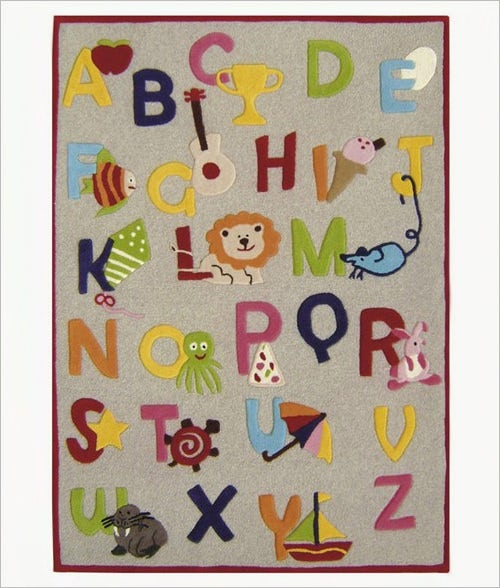 kinderloom nursery alphabet letters kids rug