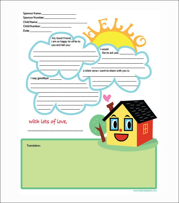 exceptionnel Letter Writing Template for Kids