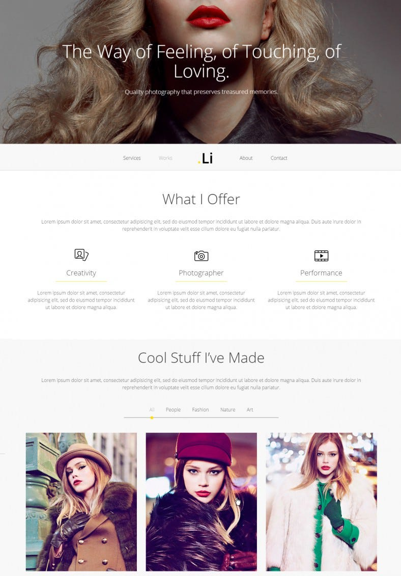 li photographer website html gallery template 788x1131