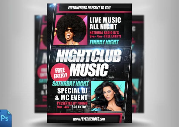 live music night club flyer template