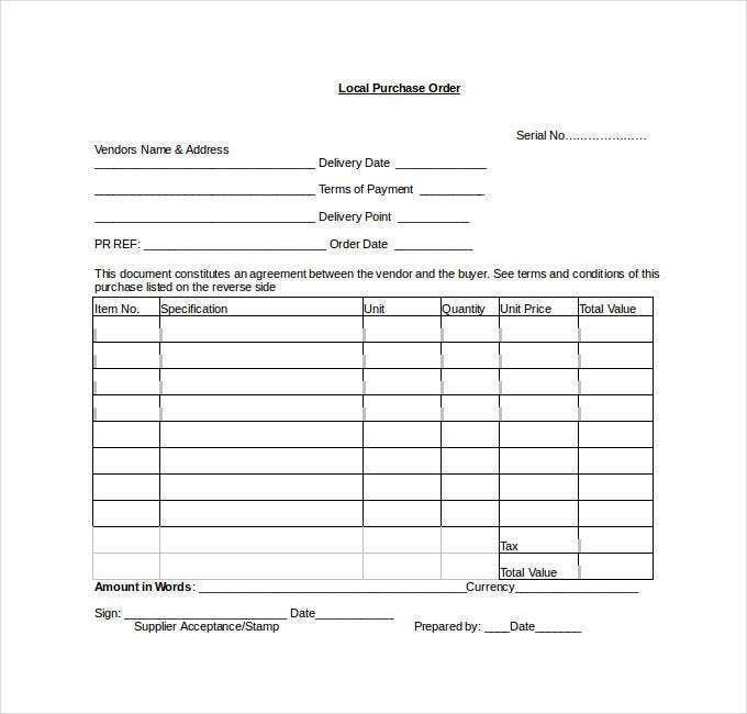 Local Purchase Order Template Purchase Order Template  45 Free Word Excel Pdf Documents .