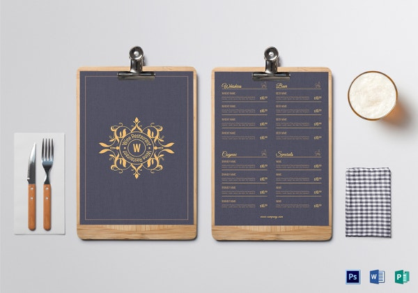 luxurious drinks menu template