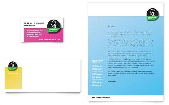 MS Word Smartphone Repair Business Card Letterhead Template