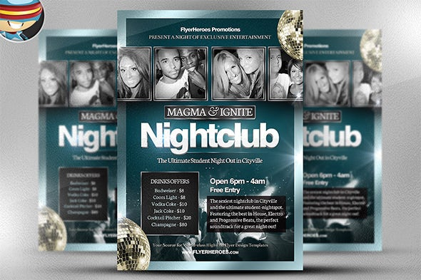 magma night club flyer template