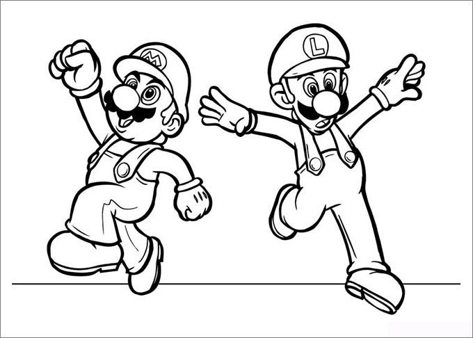 Fabulous Super Mario Brothers Coloring Pages With And Luigi