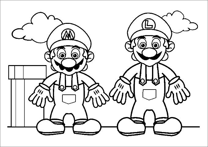 mario standing with a worker