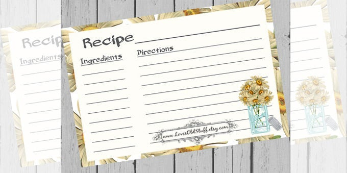 full page blank recipe card template