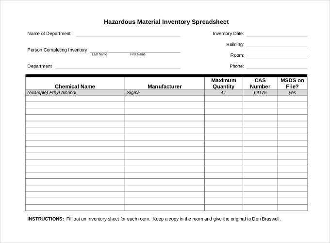 Inventory spreadsheet template 48 free word excel for Hazardous substance register template
