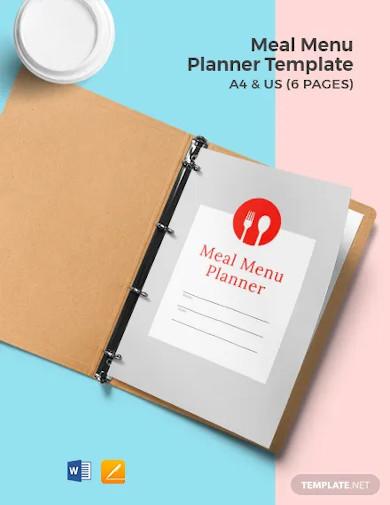 meal menu planner template