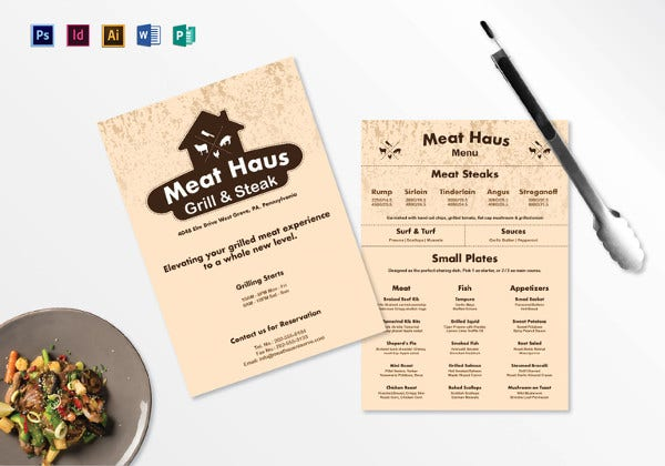 meat menu indesign template
