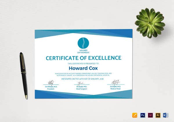 medical excellence certificate template