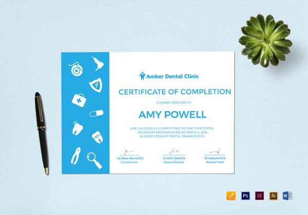 medical internship certificate indesign template