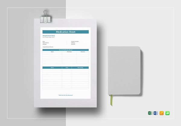 medication sheet excel template
