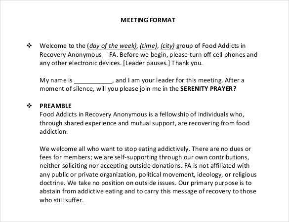 meeting note format
