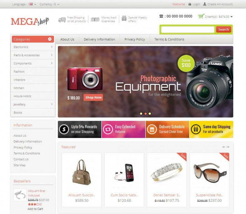 Electronics Mega Shop Opaen Cart Templates