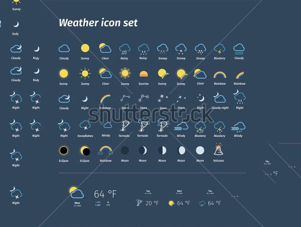 mega weather icons set