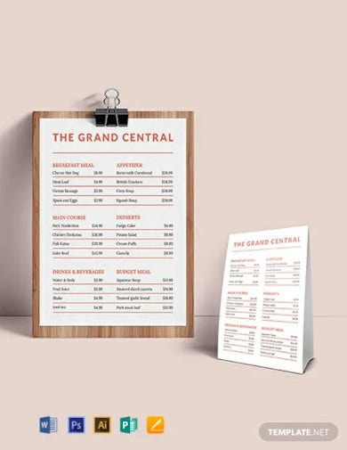menu board template