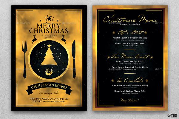 merry christmas menu psd template