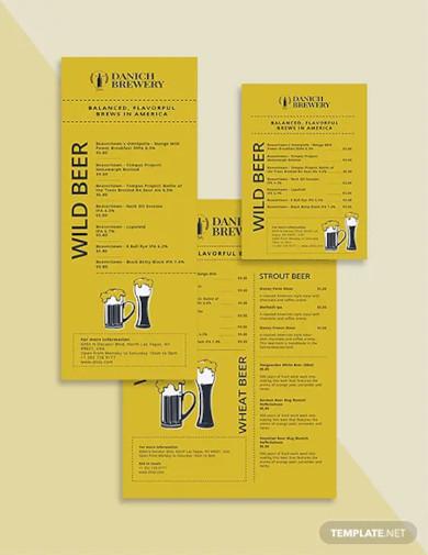 modern beer menu template